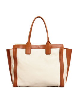 Chloe Alison East-West Colorblock Tote Bag, White/Tan