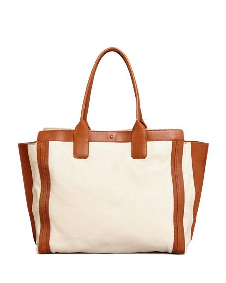 5d285de4a2 Alison East-West Colorblock Tote Bag White/Tan
