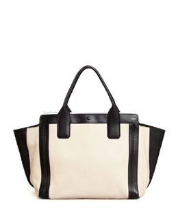 Chloe Alison Small East-West Tote Bag, White/Black