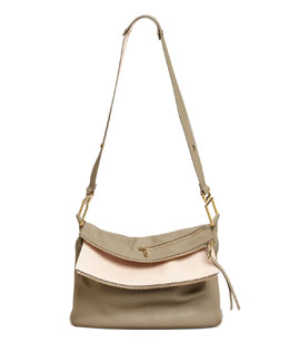 Chloe Vanessa Double-Flap Shoulder Bag, Gray/Pink