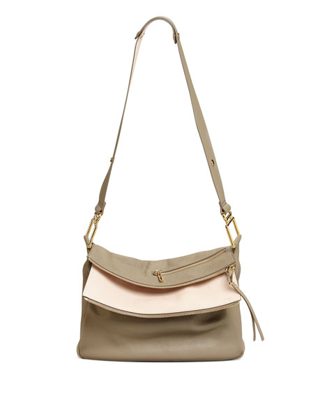 Vanessa Double-Flap Shoulder Bag, Gray/Pink