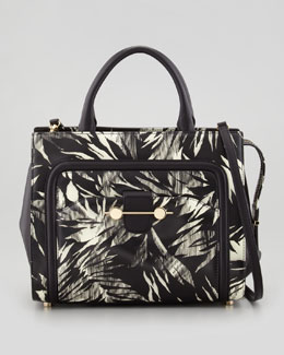 Jason Wu Daphne 2 Tropical-Print Tote Bag, Black/White