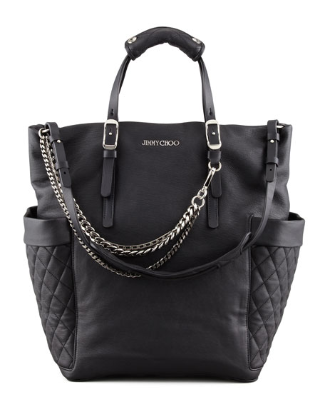 Blare Leather Tote Bag, Black