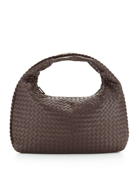 Veneta Intrecciato Medium Hobo Bag, Dark Brown