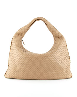 Bottega Veneta Intrecciato Woven Large Hobo Bag, Walnut