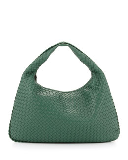 Bottega Veneta Intrecciato Woven Large Hobo Bag, Mint Green