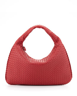 Bottega Veneta Intrecciato Large Hobo Bag, Red