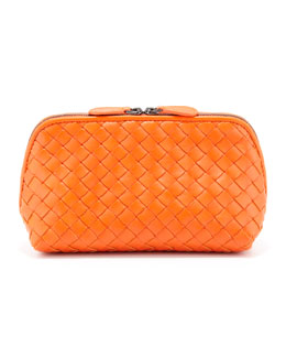 Bottega Veneta Intrecciato  Medium Cosmetic Bag, Tangerine
