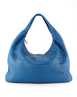 Bottega Veneta Maxi Veneta Ruffle Hobo Bag, Blue