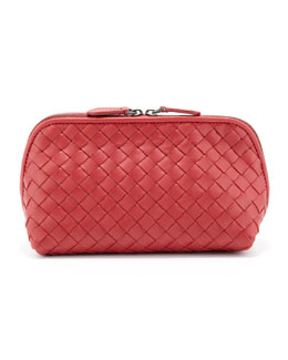 Bottega Veneta Intrecciato  Medium Cosmetic Bag, Red