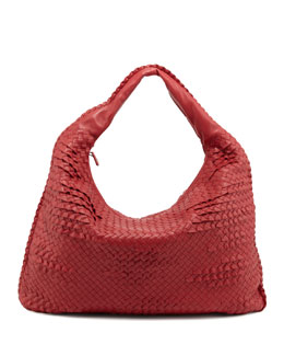 Bottega Veneta Maxi Veneta Ruffle Hobo Bag, Red