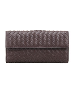 Bottega Veneta Woven Continental Flap-Tab Wallet, Dark Brown