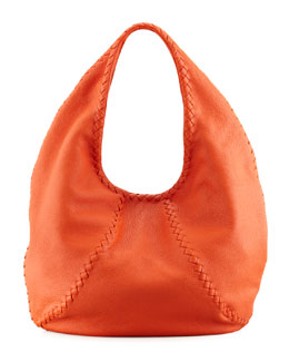 Bottega Veneta Cervo Large Hobo Bag, Tangerine