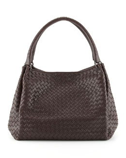 Bottega Veneta Parachute Intrecciato Shoulder Tote Bag, Dark Brown