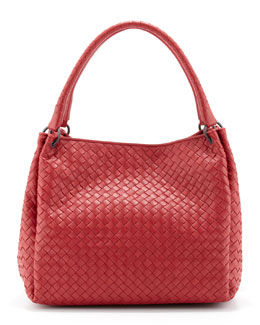Bottega Veneta Parachute Intrecciato Shoulder Tote Bag, Red
