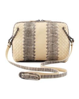 Bottega Veneta Snake & Napa Leather Crossbody Bag, Cream