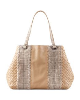 Bottega Veneta Snake & Napa Leather Tote Bag, Walnut
