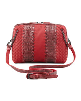 Bottega Veneta Snake & Napa Leather Crossbody Bag, Red