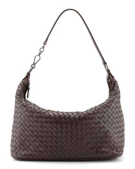 Woven Leather Shoulder Bag, Dark Brown