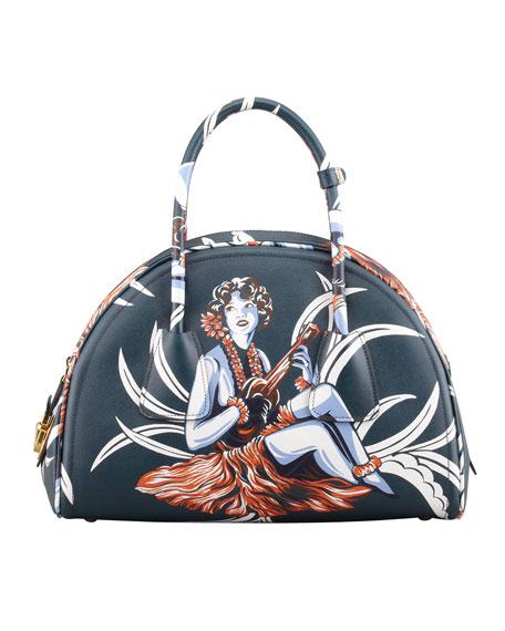 Saffiano Hula-Print Bowler Bag