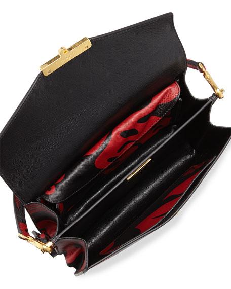 prada pouch black+red