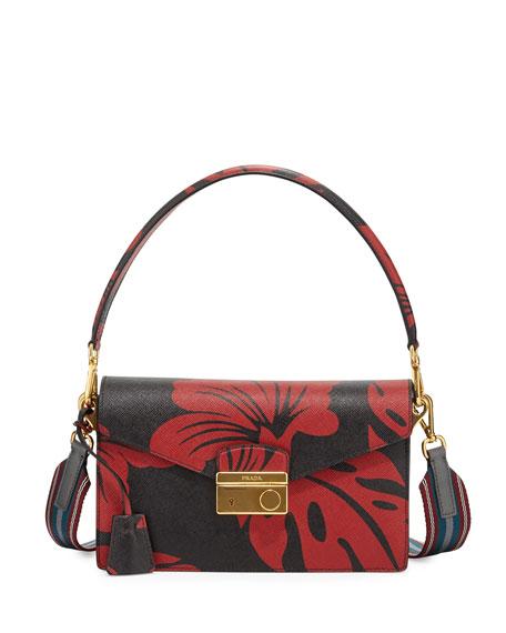 Prada Hibiscus Saffiano Shoulder Bag, Red/Black (Rosso Dis.Ibiscus)