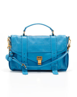 Proenza Schouler PS1 Medium Leather Satchel Bag, Rip Tide