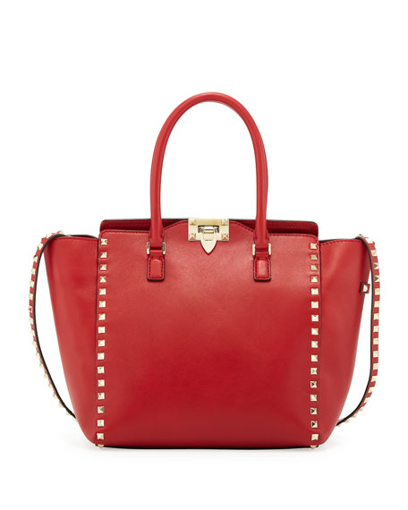 Rockstud Tote Bag, Red