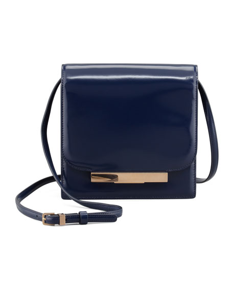 Classic Soft Leather Shoulder Bag, Imperial Blue
