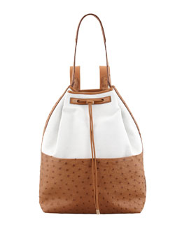 THE ROW Bicolor Canvas and Ostrich Backpack