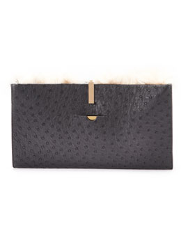 Small Ostrich/Alpaca Wrap Clutch Bag, Black