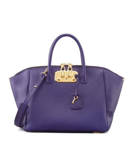 Brera Leather Satchel Bag, Purple