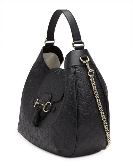 3c87980f1a65 Emily Guccissima Leather Hobo Bag Black | Stanford Center for ...