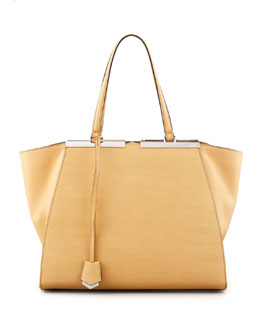 Fendi Trois-Jour Leather Tote Bag, Yellow