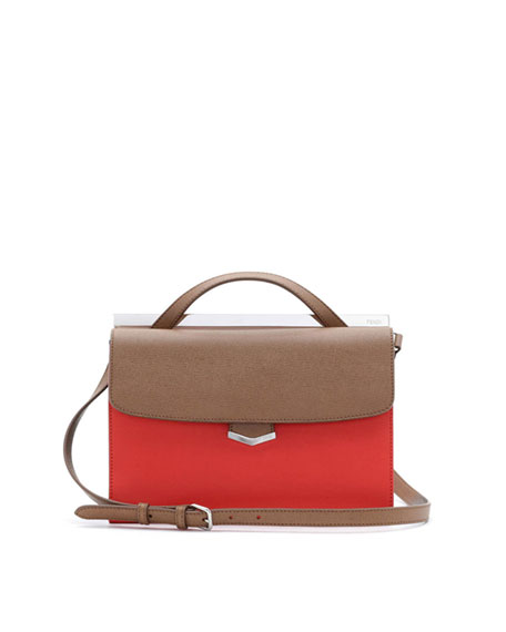 Demi-Jour Tricolor Satchel Bag, Brown/Red Orange