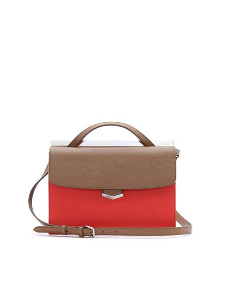 Demi-Jour Tricolor Satchel Bag, Brown/Red Orange