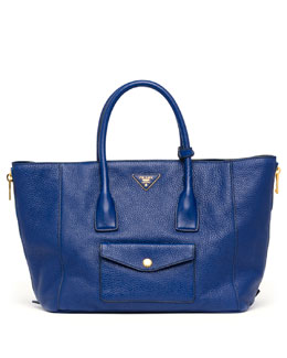 Prada Daino Side-Zip Twin Pocket Tote Bag, Dark Blue