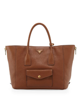 Prada Daino Side-Zip Twin Pocket Tote Bag, Medium Brown (Brandy)