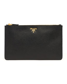 Prada Saffiano Double-Snap Travel Pouch, Black (Nero)