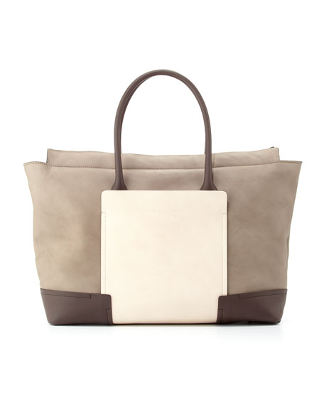 Colorblock Leather Tote Bag, Gray/White
