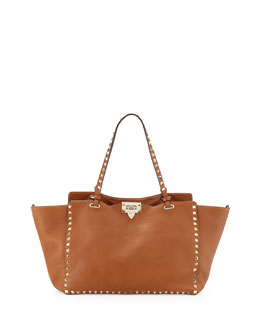 Valentino Rockstud Medium Pebbled Tote Bag, Tan