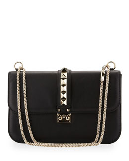 Valentino Glam Lock Rockstud-Trim Flap Bag, Black