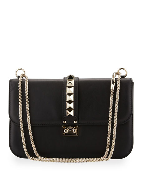 Glam Lock Rockstud-Trim Flap Bag, Black