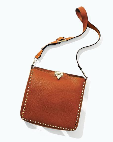 Rockstud Flip-Lock Messenger Bag, Tan