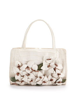 Nancy Gonzalez Large Floral-Applique Crocodile Satchel Bag, White