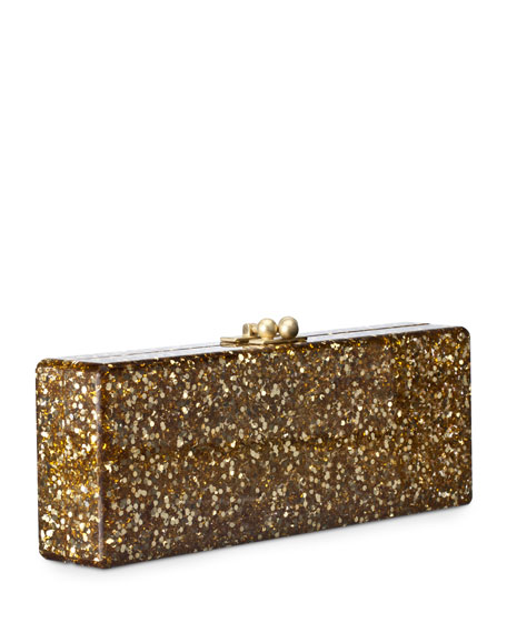 Flavia Confetti Acrylic Clutch Bag, Golden
