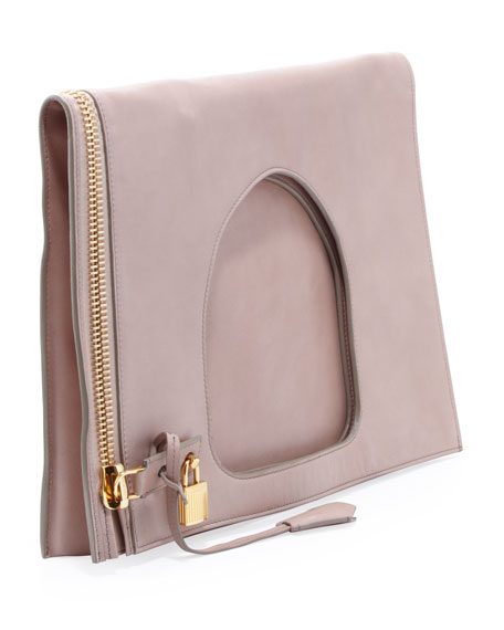 Alix Leather Padlock & Zip Shoulder Bag, Neutral