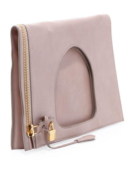 Alix Leather Padlock & Zip Shoulder Bag, Neutral