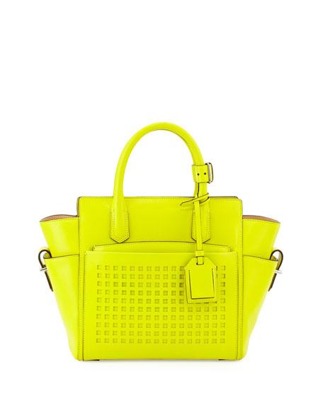 Atlantique Mini Perforated Tote Bag, Yellow