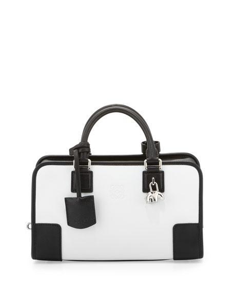 Amazona 28 Panda-Charm Satchel Bag, White/Black